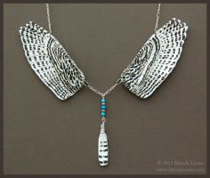 Snowy Owl Wings - Leather Necklace by windfalcon