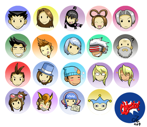 Ace Attorney button set by raizy