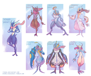 Greninja Variants by Dyemelikeasunset
