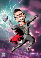 Custom Caricature Commission as Thor by drawacrowdau