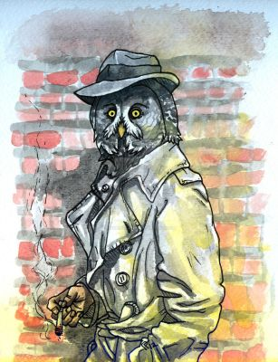 Grey Owl Noir Detective by HiddenStash