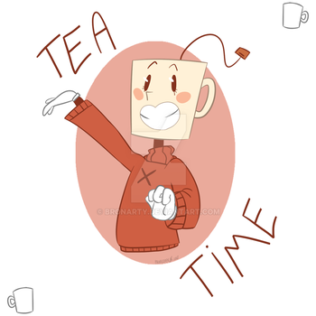 Tea Time [My OC from 'Cuphead'] by BronArty