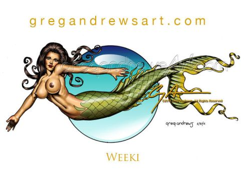 WEEKI Fantasy Comic Mermaid Pinup Art Greg Andrews by HOT-FINS-MERMAIDS