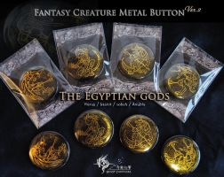 Fantasy Creature Metal Buttons - Egyptian Gods by J-C