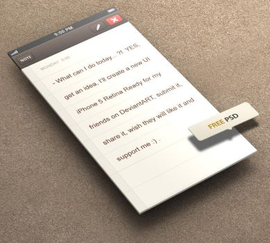 Classic Note for iPhone 5 Retina Ready - FREE PSD by khaledzz9