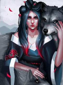 lady with wolves by jei6x