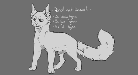 Cat - Pencil Lineart P2U by Awkwardos