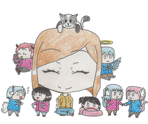 Me and my Ocs by TheLadyOfTheChibis