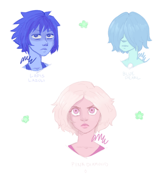 Lapis, Blue Pearl and Pink Diamond by ZinniaKet