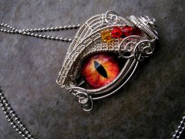 Sterling Silver - Fire Dragon Eye Pendant LOTR by LadyPirotessa