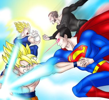 Saiyans vs. Kryptonians by DarthGuyford