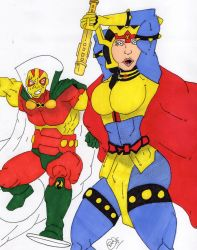 Big Barda and Mister Miracle (Request) by Vaughn787