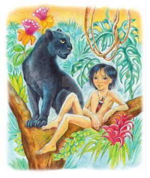 Illustration for the story by Kipling Mowgli by Komrakova