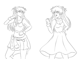 Asuka Fight lineart by darthplegias
