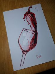 a Glass of Red Wine by SudiLin