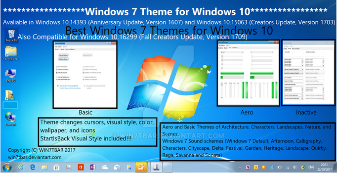 Windows 7 Theme for Windows 10 by WIN7TBAR