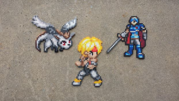 Commission: JRPG Perler Bead Sprite Set by MaddogsCreations