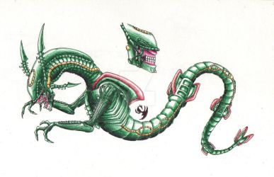 Chestburster Rayquaza by FlorenceAndTheDragon
