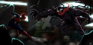 Spider-Man vs Venom by kra