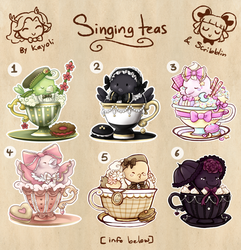 Lolita themed Singing teacats -Collab [closed] by scribblin