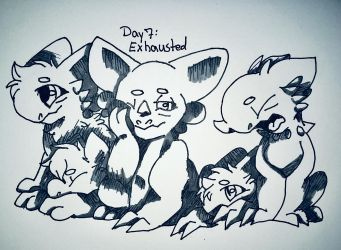 Inktober Day 7: Exhausted by kopaisfluffy