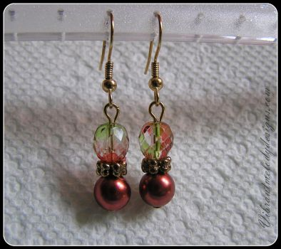 Simple Sparkling Czech Glass and Pearl Earrings by vibrantmelodydesigns
