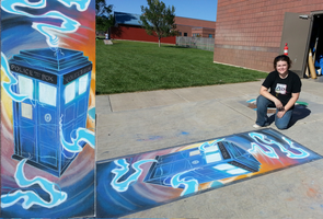 TARDIS Chalk Art by sugarpoultry