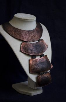 Art jewelry -Long elegant leather necklace by julishland