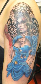 Zombie Girl With Lace by johndevilman
