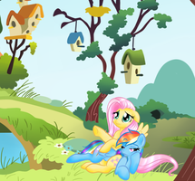 Fluttershy and Ranbow Dash Spanking2 by Passionateshadow