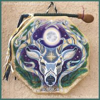 Winter Stag Solstice Drum by ssantara