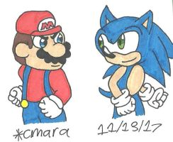 Sonic vs Mario by cmara