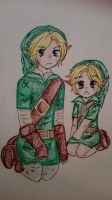 OOT:.Adult link and young link by RoseOfDarkness2
