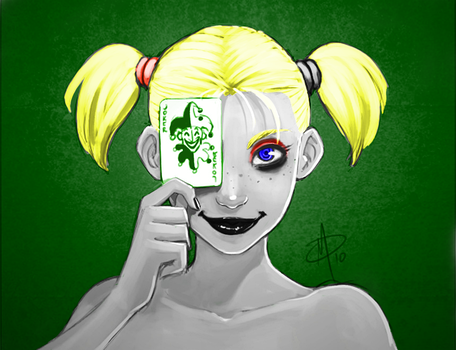 Harley Quinn Poker Face colored by Batsontrial
