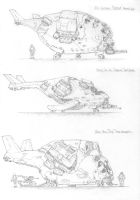 Sketches- Sci-fi helicrafts by PenUser