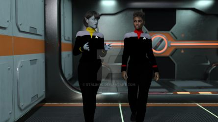 Lt.Cmdr.T'Lin And Capt. Tryla Scott by StalinDC
