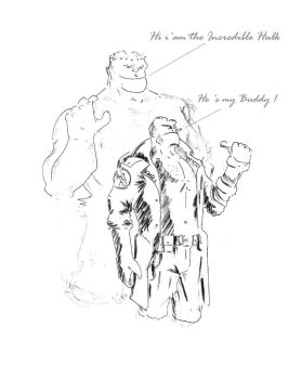 Hellboy and Hulk by Abdjaoui