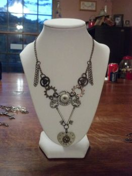 Steampunk Heart Clock Gear and Key Necklace by bookerboots