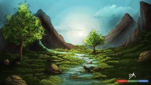 Landscape #5 - Resting for a while.. by DwRPainting