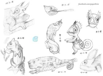 Mascot contest (ArtAcceptance) Chamaleon sketches by Fractalico