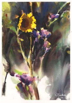 Sunflower in Watercolor by NathanFowkesArt