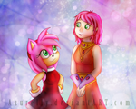 Two pink-haired ladies by Azurelly