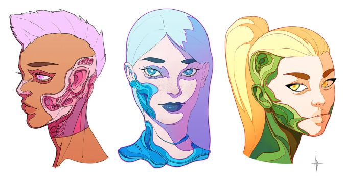 Cyborg Faces by AdrianDadich