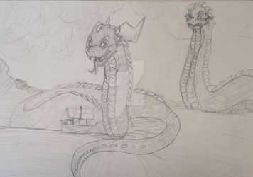 Sea Serpent drawing by samanthaxkizzy