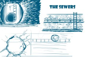 Environment Concept Design: The Sewers by SkipperWing