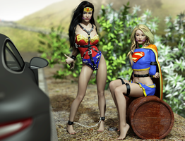 Wonder Woman and Supergirl - Hitchhiking by fightgirl2004