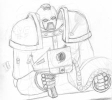 Space Marine Sketch by wraithdragon