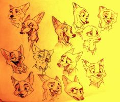 Disney's 'Zootopia': Nick Wilde Sketches by AlexandraBowmanArt
