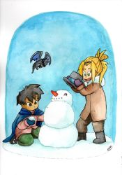 Watercolor 02: Herowitz and Lyric Snowman by LilBruno