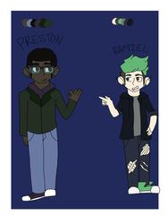 Preston Forscythe and Ramiel reference sheets by Peiixxes